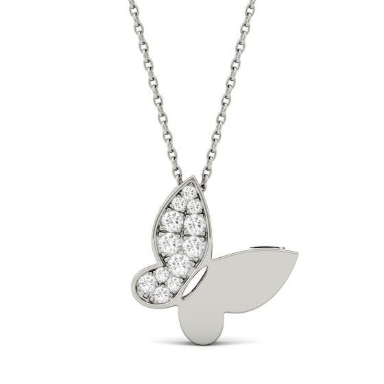 0.15 CTW DEW Round Forever One Moissanite Necklace 14K White Gold