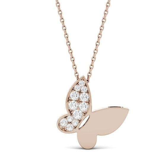 0.15 CTW DEW Round Forever One Moissanite Butterfly Necklace 14K Rose Gold