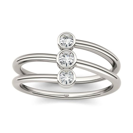 0.22 CTW DEW Round Forever One Moissanite Bezel Set Three Stone Fashion Ring 14K White Gold