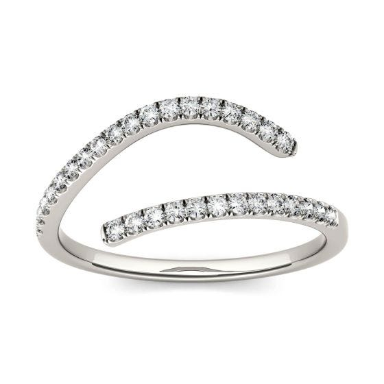 0.15 CTW DEW Round Forever One Moissanite Open Bypass Fashion Ring 14K White Gold