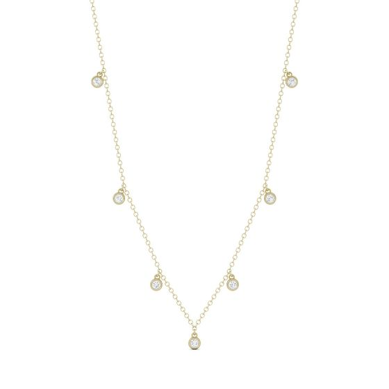 0.16 CTW DEW Round Forever One Moissanite Necklace 14K Yellow Gold
