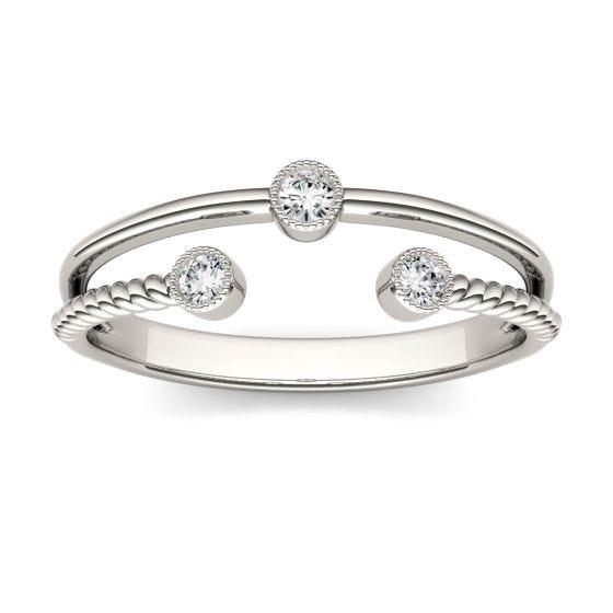 0.09 CTW DEW Round Forever One Moissanite Split Shank Bezel Set Fashion Ring 14K White Gold