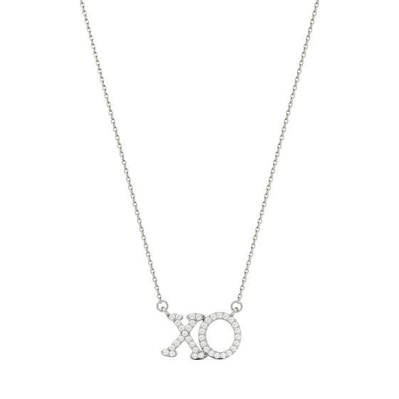 0.19 CTW DEW Round Forever One Moissanite XO Hugs and Kisses Necklace 14K White Gold