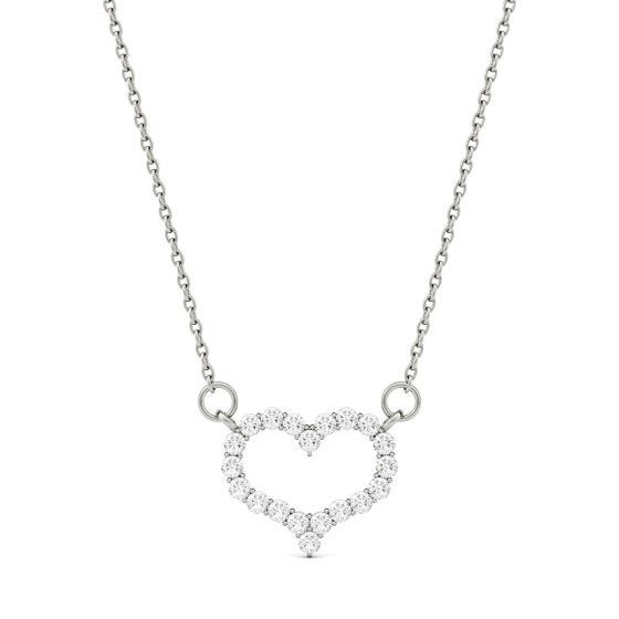 0.35 CTW DEW Round Forever One Moissanite Heart Pendant Necklace 14K White Gold