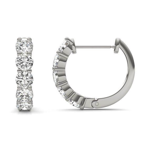 1.60 CTW DEW Round Forever One Moissanite Mini Hoop Earrings 14K White Gold