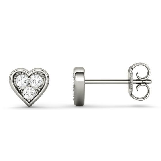 0.18 CTW DEW Round Forever One Moissanite Heart Shaped Stud Earrings 14K White Gold