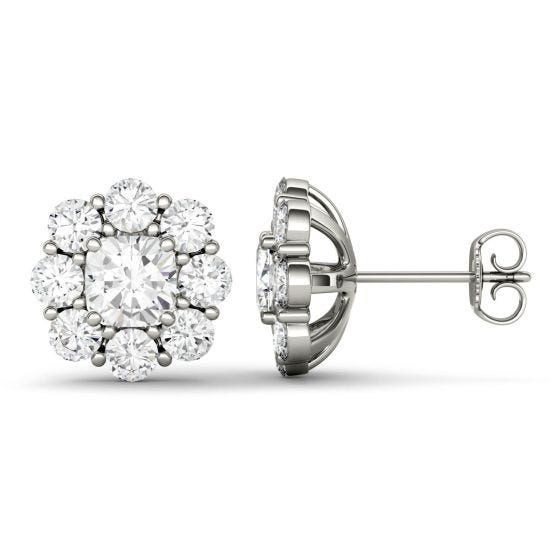 3.20 CTW DEW Cushion Forever One Moissanite Halo Floral Stud Earrings 14K White Gold