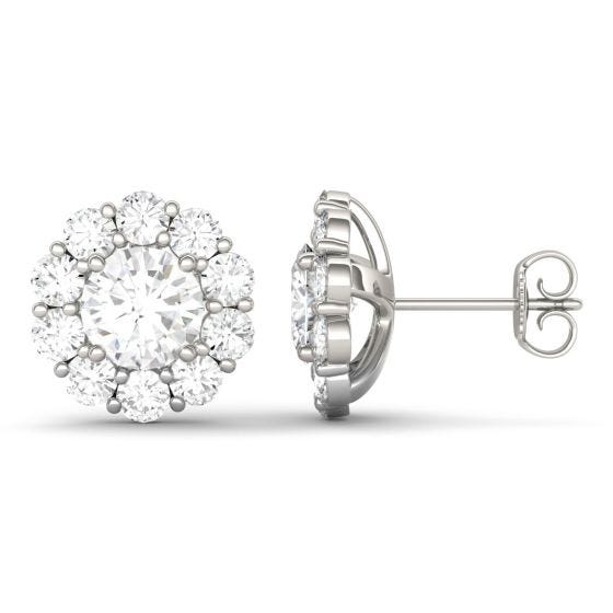 4.00 CTW DEW Round Forever One Moissanite Floral Halo Stud Earrings 14K White Gold