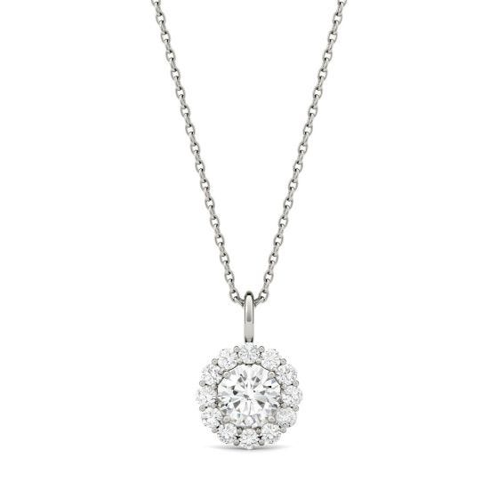 0.96 CTW DEW Round Forever One Moissanite Halo Pendant Necklace 14K White Gold