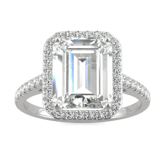 3.89 CTW DEW Emerald Forever One Moissanite Halo with Side Accents Engagement Ring 14K White Gold