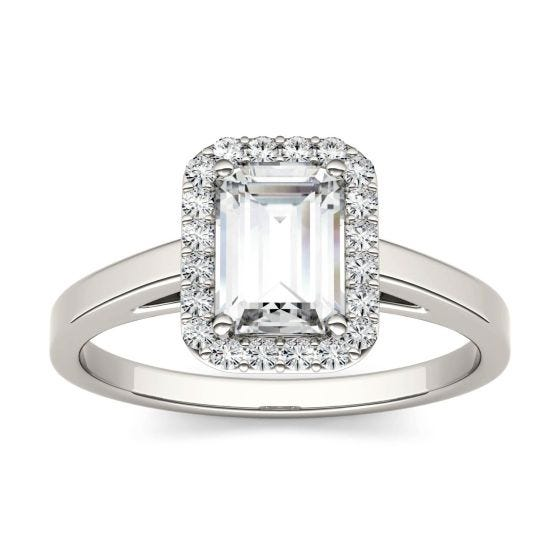 0.72 CTW DEW Emerald Forever One Moissanite Halo Engagement Ring 14K White Gold