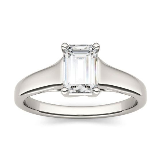 2.52 CTW DEW Emerald Forever One Moissanite Solitaire Engagement Ring 14K White Gold