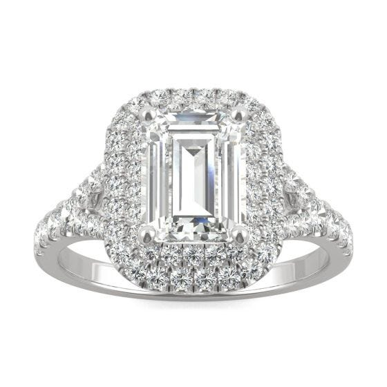 2.27 CTW DEW Emerald Forever One Moissanite Double Halo with Side Accents Engagement Ring 14K White Gold