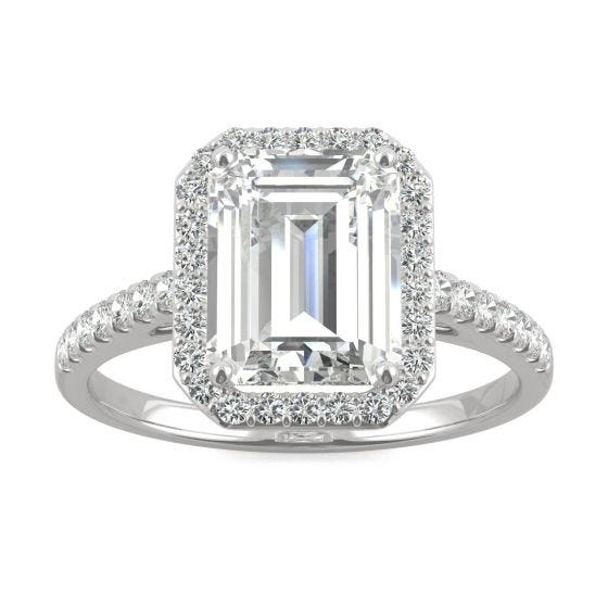 2.84 CTW DEW Emerald Forever One Moissanite Halo with Side Accents Engagement Ring 14K White Gold