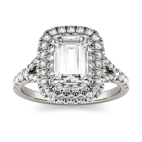 1.51 CTW DEW Emerald Forever One Moissanite Double Halo with Side Accents Engagement Ring 14K White Gold