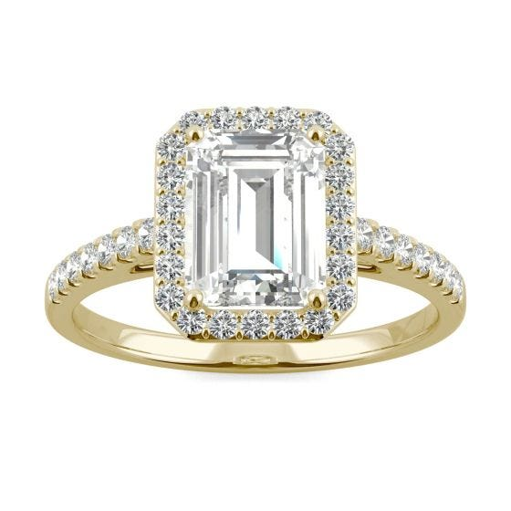 2.04 CTW DEW Emerald Forever One Moissanite Halo with Side Accents Engagement Ring 14K Yellow Gold