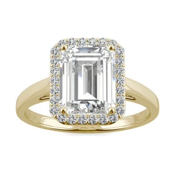 3.77 CTW DEW Emerald Forever One Moissanite Halo Engagement Ring 14K Yellow Gold
