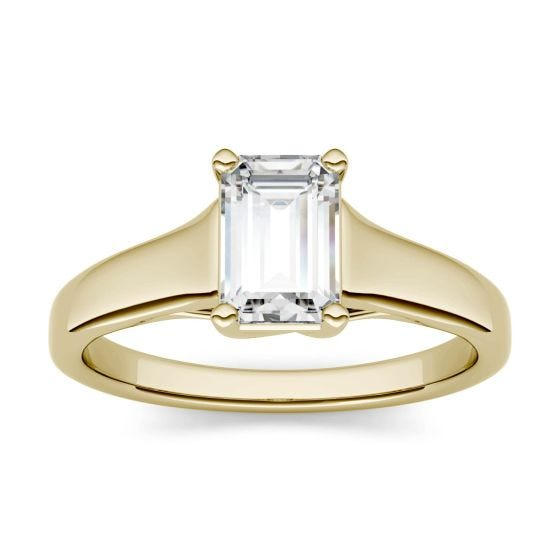 1.01 CTW DEW Emerald Forever One Moissanite Solitaire Engagement Ring 14K Yellow Gold