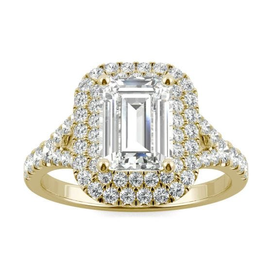 2.27 CTW DEW Emerald Forever One Moissanite Double Halo with Side Accents Engagement Ring 14K Yellow Gold