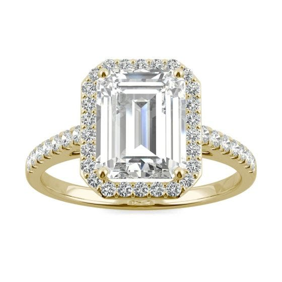 2.84 CTW DEW Emerald Forever One Moissanite Halo with Side Accents Engagement Ring 14K Yellow Gold