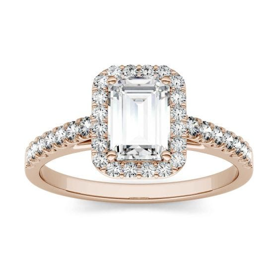 1.28 CTW DEW Emerald Forever One Moissanite Halo with Side Accents Engagement Ring 14K Rose Gold