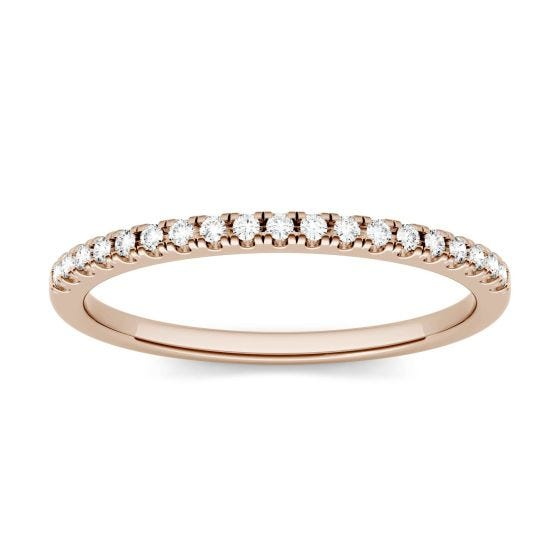 0.13 CTW DEW Round Forever One Moissanite Shared Prong Ring 14K Rose Gold