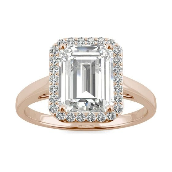 3.77 CTW DEW Emerald Forever One Moissanite Halo Engagement Ring 14K Rose Gold