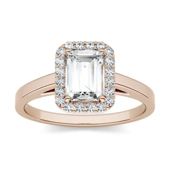 1.17 CTW DEW Emerald Forever One Moissanite Halo Engagement Ring 14K Rose Gold