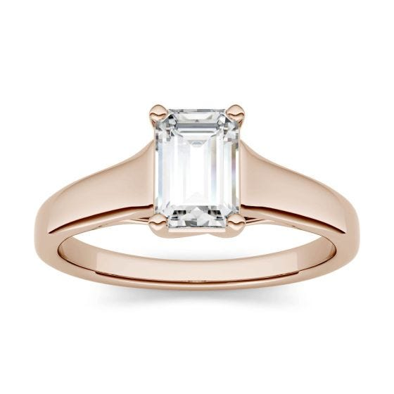 0.58 CTW DEW Emerald Forever One Moissanite Solitaire Engagement Ring 14K Rose Gold