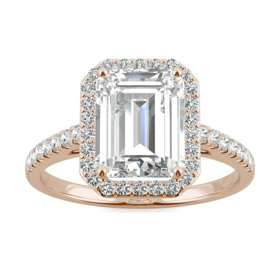 2.84 CTW DEW Emerald Forever One Moissanite Halo with Side Accents Engagement Ring 14K Rose Gold