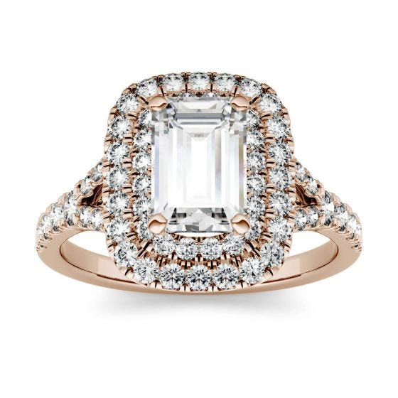 1.05 CTW DEW Emerald Forever One Moissanite Double Halo with Side Accents Engagement Ring 14K Rose Gold