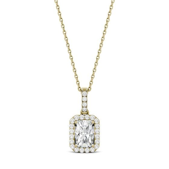 2.03 CTW DEW Radiant Forever One Moissanite Halo Pendant Necklace 14K Yellow Gold