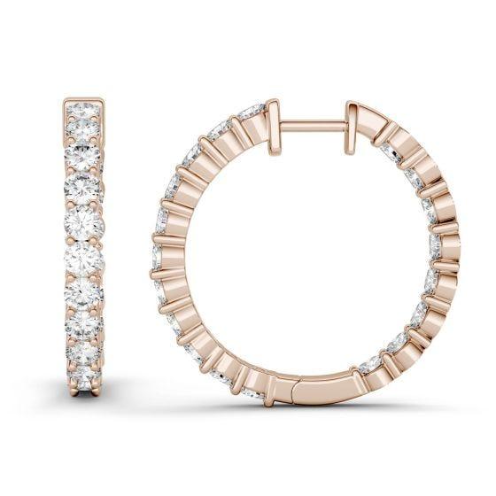 2.28 CTW DEW Round Forever One Moissanite Hoop Earrings 14K Rose Gold
