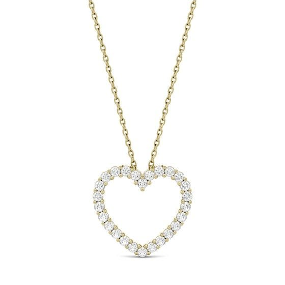 0.39 CTW DEW Round Forever One Moissanite Heart Pendant Necklace 14K Yellow Gold