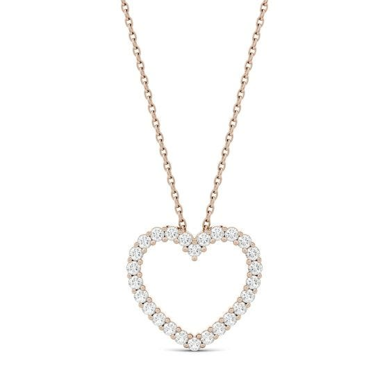 0.39 CTW DEW Round Forever One Moissanite Heart Pendant Necklace 14K Rose Gold