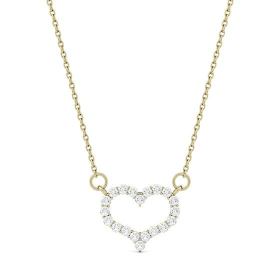0.35 CTW DEW Round Forever One Moissanite Mini Heart Necklace 14K Yellow Gold