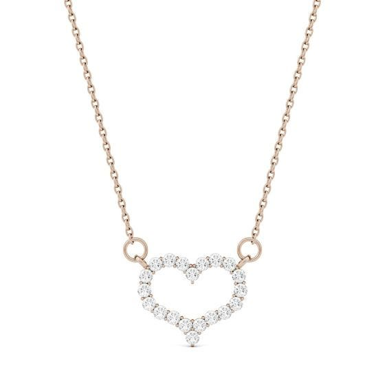 0.35 CTW DEW Round Forever One Moissanite Mini Heart Necklace 14K Rose Gold