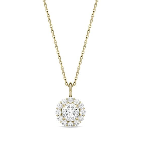 0.96 CTW DEW Round Forever One Moissanite Halo Necklace 14K Yellow Gold