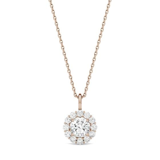 0.96 CTW DEW Round Forever One Moissanite Halo Necklace 14K Rose Gold