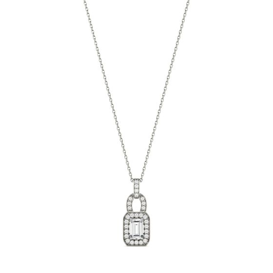 0.77 CTW DEW Emerald Forever One Moissanite Halo Necklace 14K White Gold