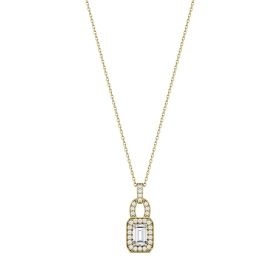 0.77 CTW DEW Emerald Forever One Moissanite Halo Necklace 14K Yellow Gold