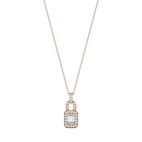 0.77 CTW DEW Emerald Forever One Moissanite Halo Necklace 14K Rose Gold