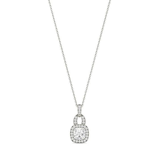 1.30 CTW DEW Cushion Forever One Moissanite Halo Necklace 14K White Gold