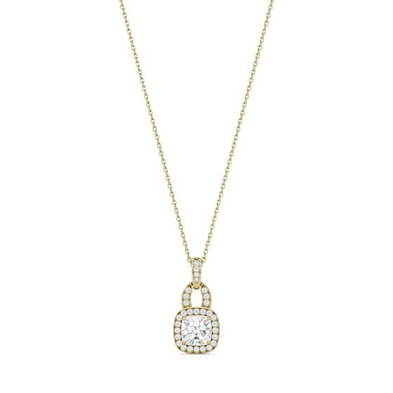1.30 CTW DEW Cushion Forever One Moissanite Halo Necklace 14K Yellow Gold