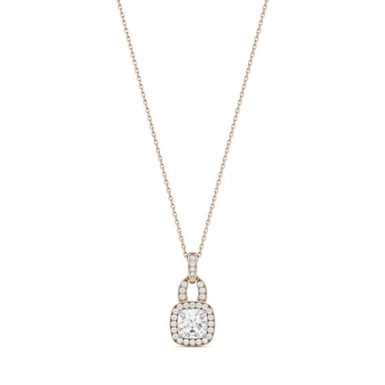 1.30 CTW DEW Cushion Forever One Moissanite Halo Necklace 14K Rose Gold