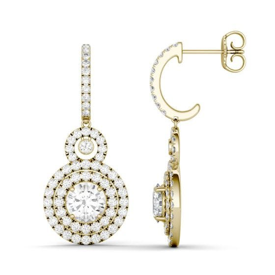 2.82 CTW DEW Round Forever One Moissanite Double Halo Drop Earrings 14K Yellow Gold