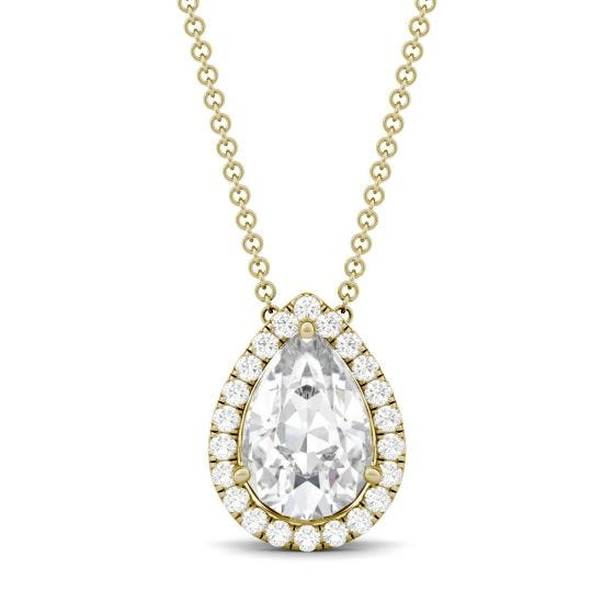 2.32 CTW DEW Pear Forever One Moissanite Halo Necklace 14K Yellow Gold