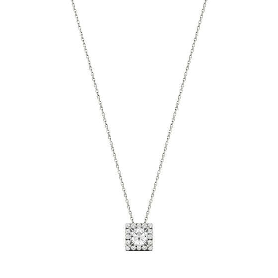 0.96 CTW DEW Square Forever One Moissanite Square Shaped Halo Necklace 14K White Gold
