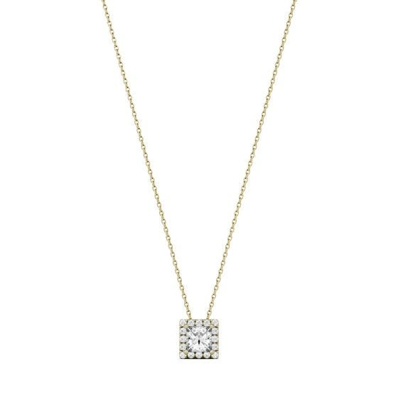 0.96 CTW DEW Square Forever One Moissanite Square Shaped Halo Necklace 14K Yellow Gold