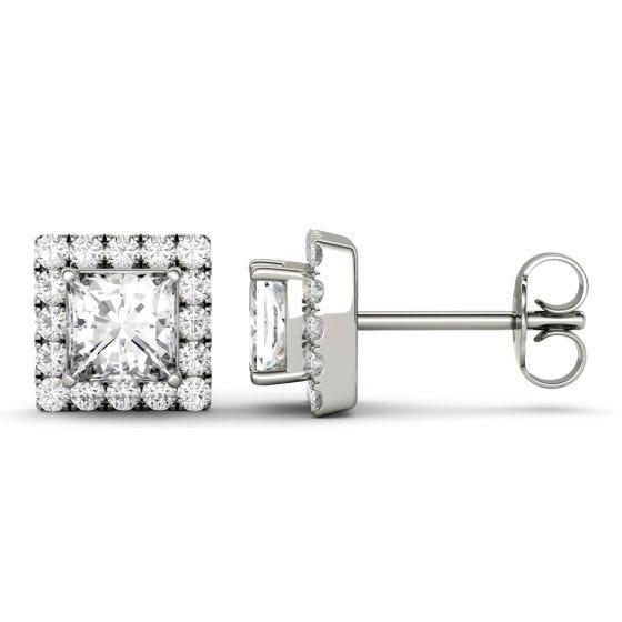 1.92 CTW DEW Square Forever One Moissanite Halo Earrings 14K White Gold